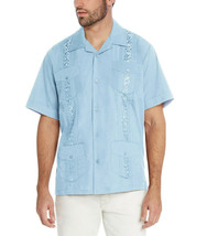 Men's Light Blue Beach Wedding Casual Short Sleeve Guayabera Dress Shirt - 2XL image 2