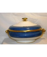 Wedgwood Stippled Blue Band  #6262 Covered Vegetable Bowl Ulander Swineburn - $375.47