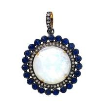 Sapphire Gemstone Sterling Silver Pave Diamond Moonstone Round Pendant 14 K Gold - $444.13
