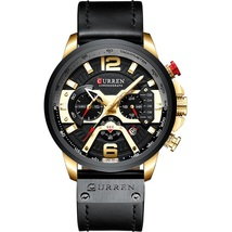 Curren Men's Leather Chronograph Wrist Watch 8329 (Black & Gold) - $42.00