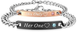 Stainless Steel His Only Her One Couple Bracelet Matching Set (A - $65.07