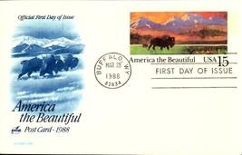 FDC POSTCARD-AMERICA THE BEAUTIFUL - BUFFALO - 1988,  ARTCARFT CACHET  BK17 - $2.94