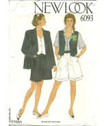 New Look Sewing Pattern 6093 Womens Jacket Vest Shorts Size 8 - 18 New - $12.98