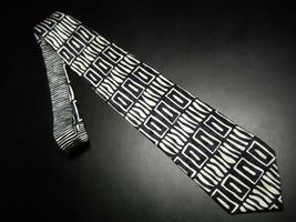 Structure Neck Tie Italian Fabric Zebra Sripes and Spots in Creams and Black - $10.99