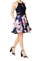 Xscape Womens Party Dress Floral Illusion, Blue,10, 2706-3 - $82.16