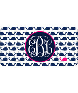 MONOGRAMMED LICENSE PLATE CUSTOM CAR TAG BLUE HOT PINK PREPPY WHALES - $14.68