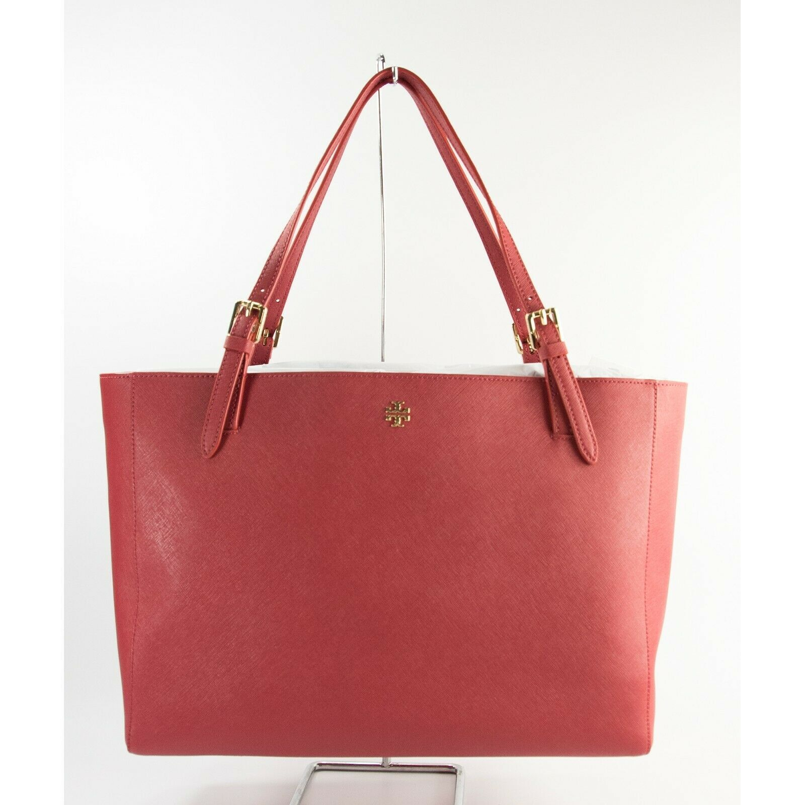 Tory Burch Robinson Kir Royal Red Saffiano Leather York Buckle Tote Bag NWT