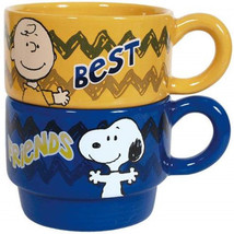 Peanuts Best Friends Stackable Yellow and Blue 6 oz Ceramic Coffee Mugs,... - $28.01