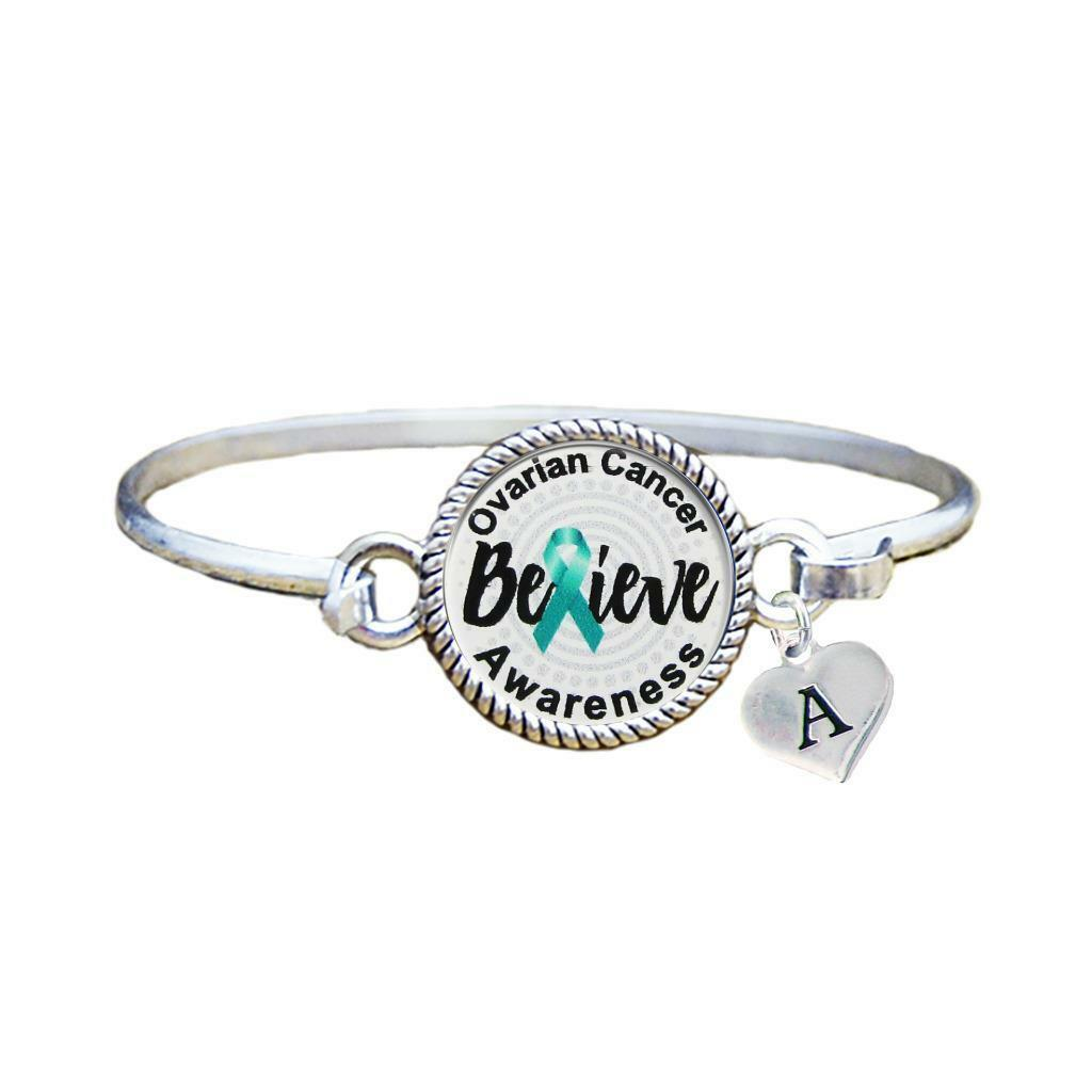 Primary image for Custom Ovarian Cancer Awareness Believe Silver Bracelet Jewelry Choose Initial