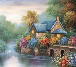 English Cottage on the River 20 x 24 original oil painting on canvas - $79.19