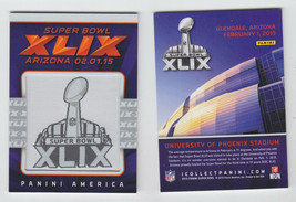 2015 PANINI SUPER BOWL XLIX 49 PATCH CARD PHOENIX STADIUM PATRIOTS SEAHA... - $24.99