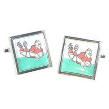 Welsh rugby design Cufflinks cuff links in gift box the green and white of wales