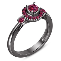 Halo Round Cut Pink Sapphire Black Gold Finish Pure 925 Silver Engagemen... - $79.99