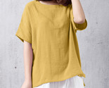 Summer boho beach party loose blouse women casual solid o neck short sleeve cotton thumb155 crop