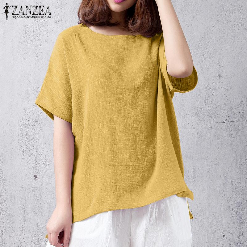Zanzea 2018 summer boho beach party loose blouse women casual solid o neck short sleeve cotton