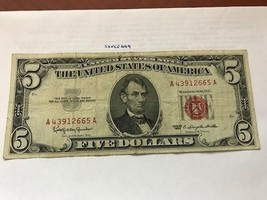 United States Lincoln $5 red circulated banknote 1963 #1 - $11.95