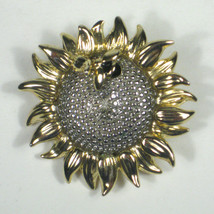 Liz Claiborne Jewelry Brooch Pin 1.75 In Silvertone Womens Sunflower Bumblebee - $14.84
