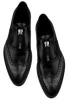 Men's Oxford Black Brogue Wingtip Genuine Leather Handmade Zipper Dress Shoes - $129.99+