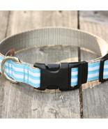 Mod Stripe Blue Grosgrain Adjustable Dog Collar / Made in Japan - $29.00