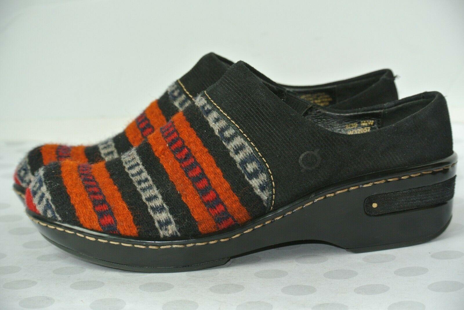 BORN Womens Sz 8 Multi-Color Wool Slip-on Mules Clogs Flats NICE!!