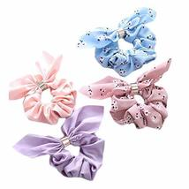 8 Pcs Floral Pure Color Rabbit Ears Ribbon Hair Scrunchies Elastics Hair Band Kn