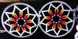 "White Fire Beaded Dreamcatcher Earrings 1.5"" Cut Glass Beads Native Amer... - $29.99"