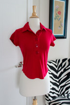 Vintage Women's Tommy Girl Hilfiger Red Large Buttons Polo Short Sleeve ... - $11.39