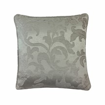 """WOVEN CHENILLE JACQUARD LEAF SCROLL BEIGE PIPED 17"""" - 43CM CUSHION COVER - $9.50"""