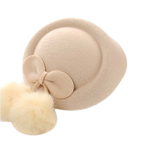 Wool Fedora Hat Small Hat Hairpin Side Clip Hair Accessories, Beige Cravat
