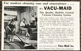 1962 Vacu-Maid Ponca City OK Print Ad Built-In Central Vacuum Cleaning S... - $7.64