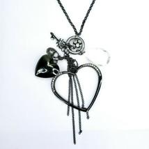 Guess Signed Rhinestone Circle Heart Charm Dangle Tassel Gunmetal Necklace - $19.39