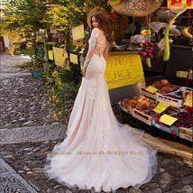 Elegant Mermaid Wedding Dresses With Beading Crystal Detachable Lace Tulle Train image 2