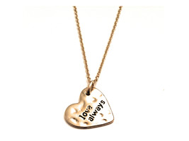 Hammered Pattern Heart Shaped Love Always Necklace - $11.95