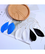 Earrings White Blue Black Feather Drop Earrings For Women Jewelry Ear Line - $5.75
