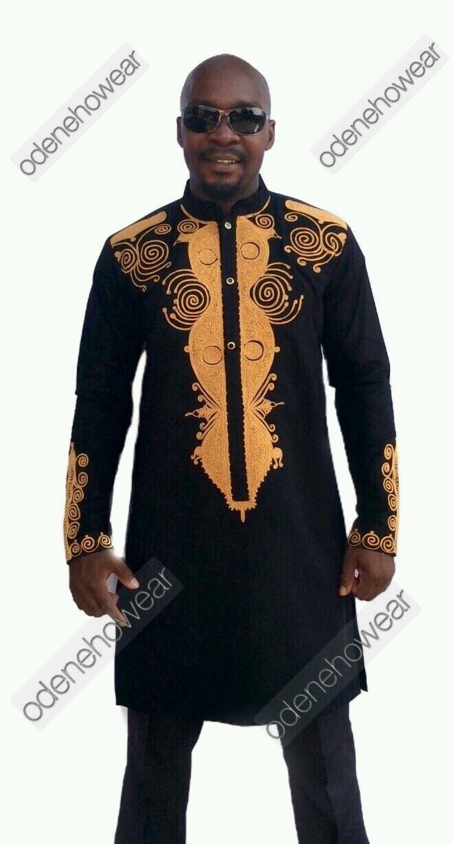 Odeneho Wear Men Black Polished Cotton Outfit/Gold Embroidery.African Clothing. - $150.00
