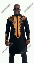 Odeneho Wear Men Black Polished Cotton Outfit/Gold Embroidery.African Cl... - $150.00