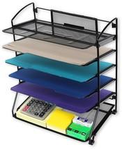 6 Mesh Letter Trays Documents Desk Accessories Folders Black Steel Const... - $32.99