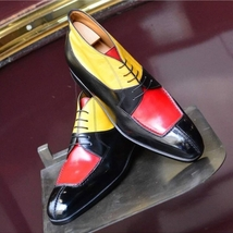 Handmade Men's Multi Color Lace Up Three Tone Dress/Formal Leather Shoes image 1