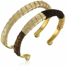 Lena Bernard Brynn Gold Metallic Suede Leather Wrapped Brass Cuff Bracelet Set