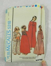 Vintage 1976 McCall's Sewing Pattern 5318 Girl's Robe Gown Pajamas Size ... - $11.87