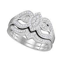 10kt White Gold Round Diamond Oval Cluster Bridal Wedding Engagement Ring Set - $445.32