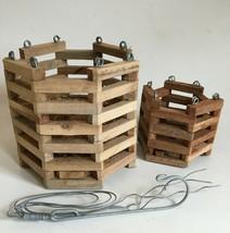 "Pair Hanging wooden slatted orchid baskets - Octagon 4"" & 7"" Vanda - $9.99"