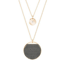 Authentic Swarovski Ginger Double Layered Pendant, Black in Rose-Gold-RR... - $96.49