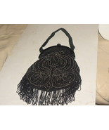 Victorian Purse Black Clear Seed Beads Black Ce... - $100.00