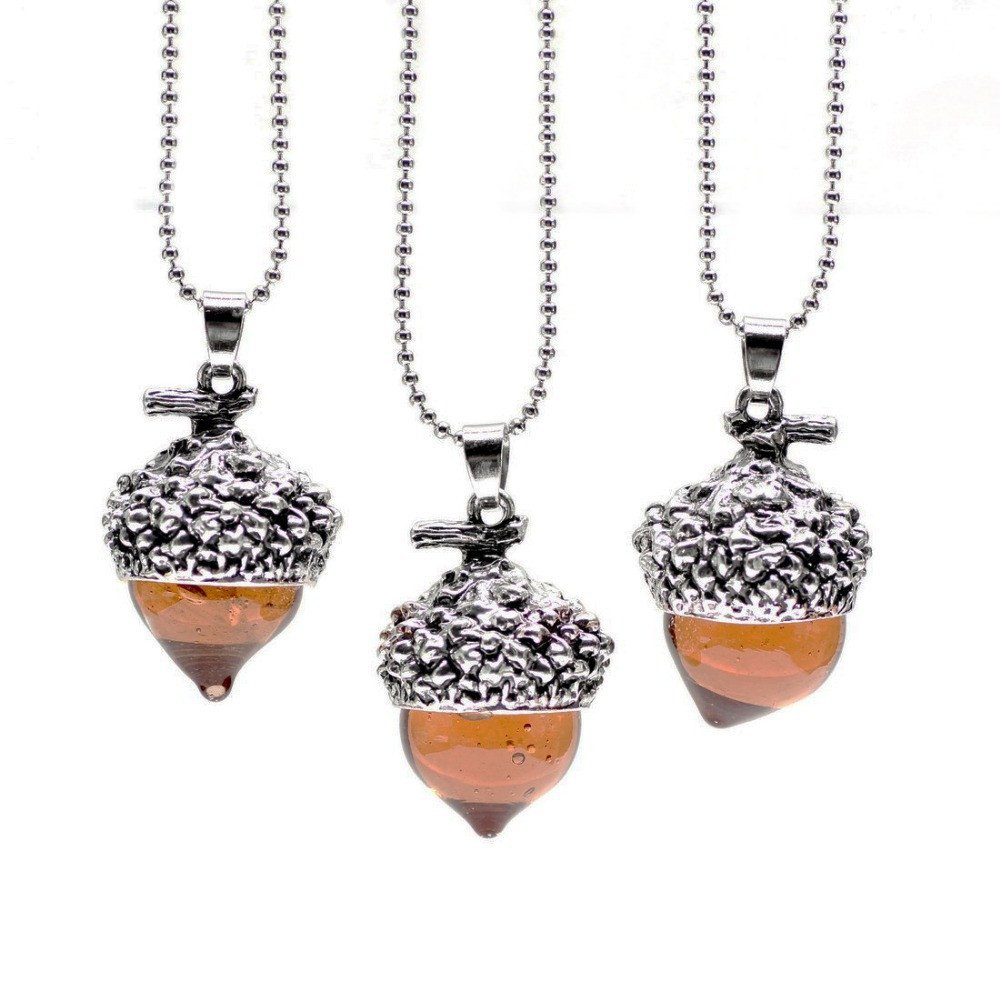 1 Pcs Glass Acorn Pendant Necklace