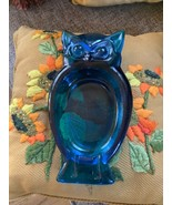 Owl Ashtray Mid Century mcm retro  Modern Vintage Clear Cobalt Blue Viki... - $45.00