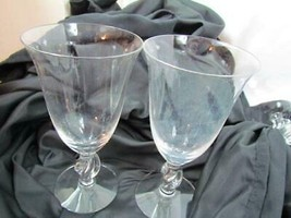 "Lot Of 2 Water Goblets Fosteria 6 7/8"" Clear Knotted Stem - $23.74"