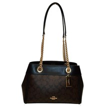 NWT COACH Brooke Chain Carryall Signature Shoulder Gold Chain Bag Brown ... - $174.24