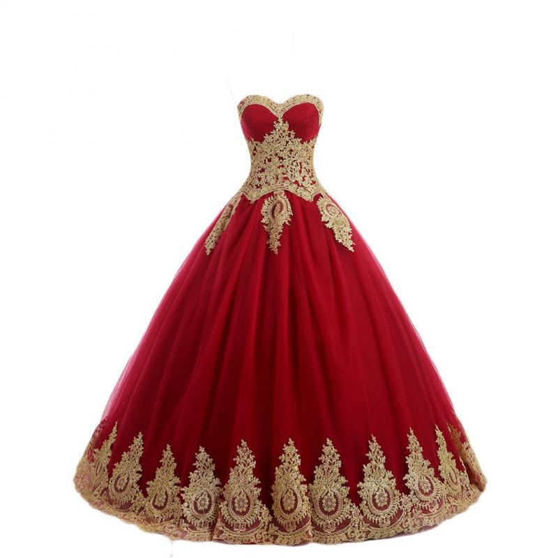 Ball Gown Prom Dress Red with Gold Lace Formal Evening Gown Quinceanera Dress