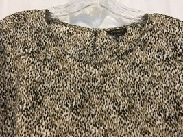 Talbots Shell Top Animal Print 14 100% Polyester Short Sleeve Round Neck Pull On - $15.70